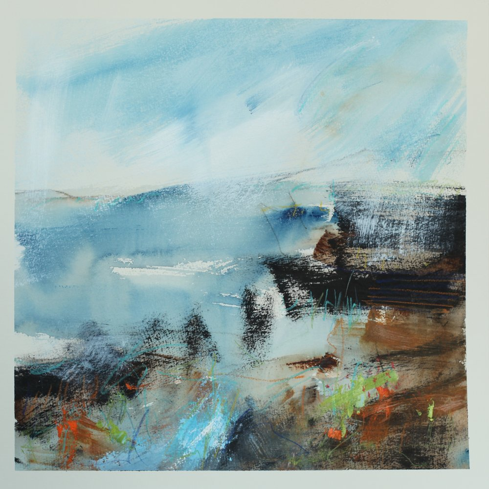Deep at the shore's edge, watercolour, 40 x 40cm