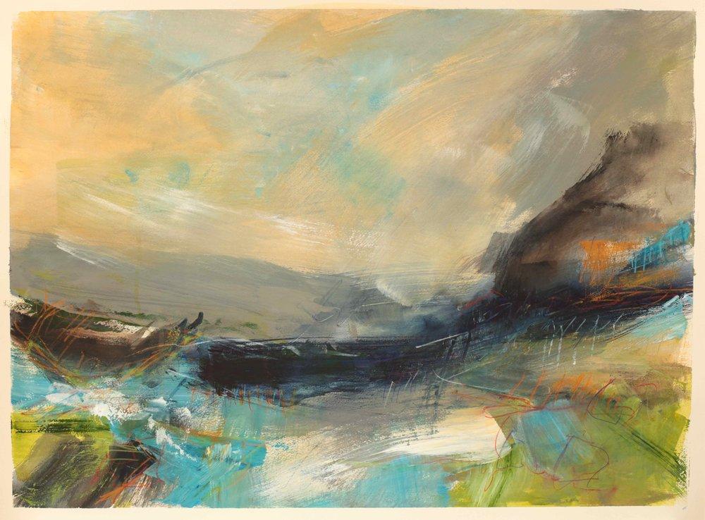 Rocks and sea, watercolour, 60 x 84cm
