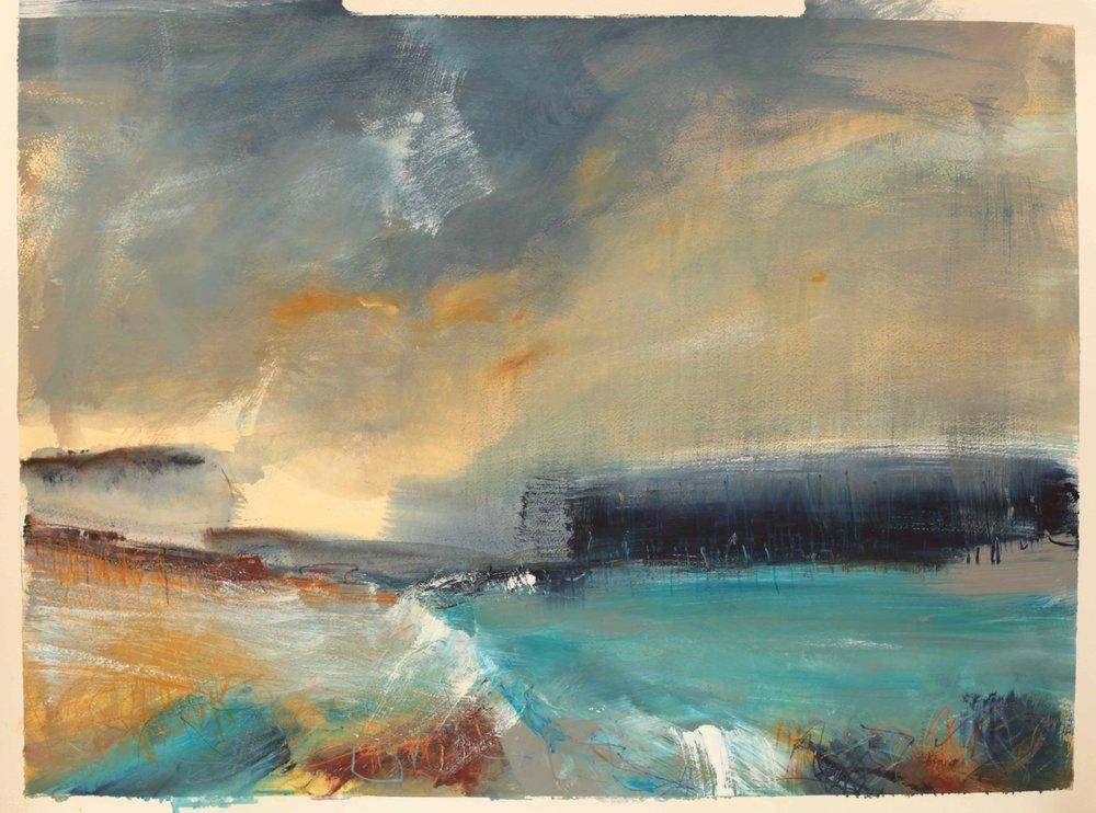 Deep blue, watercolour, 60 x 84cm