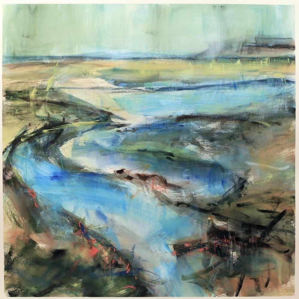 Where the river runs, watercolour, 104 x 104cm