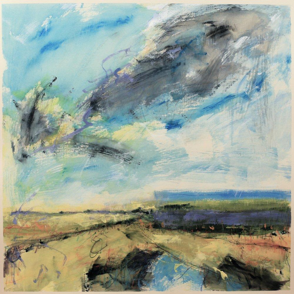 Summer fields, watercolour, 104 x 104cm