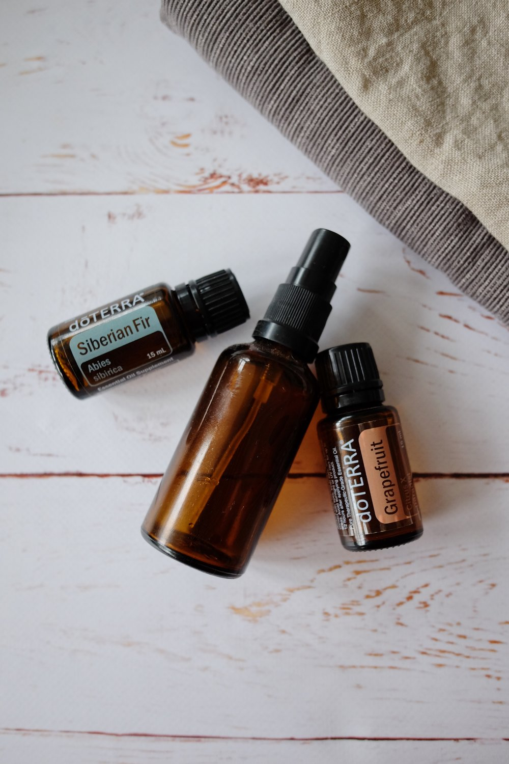 Essential oil linen spray - 10 drops each of Siberian Fir and Grapefruit. Mix with water in a glass bottle and shake before each use.Spray your linen before folding and storing.