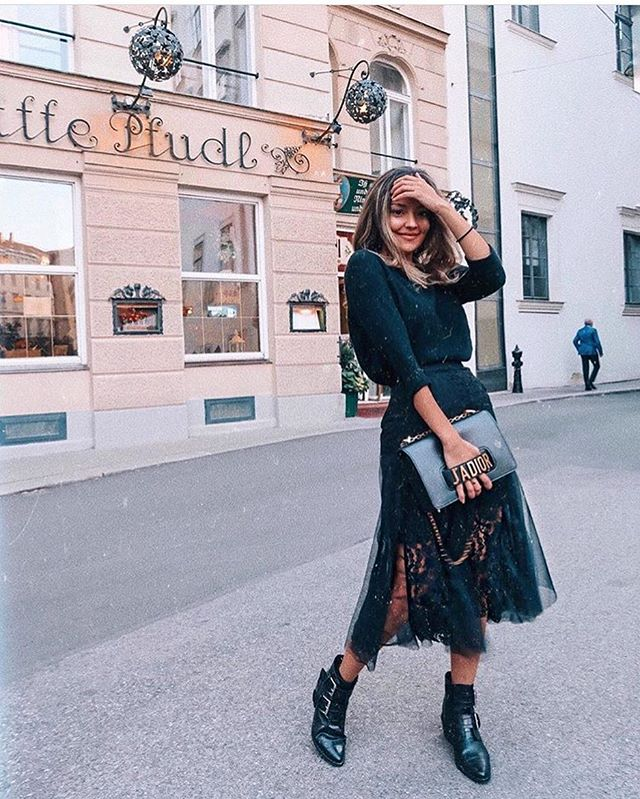 @denizcolak_ in our lace embroidered skirt