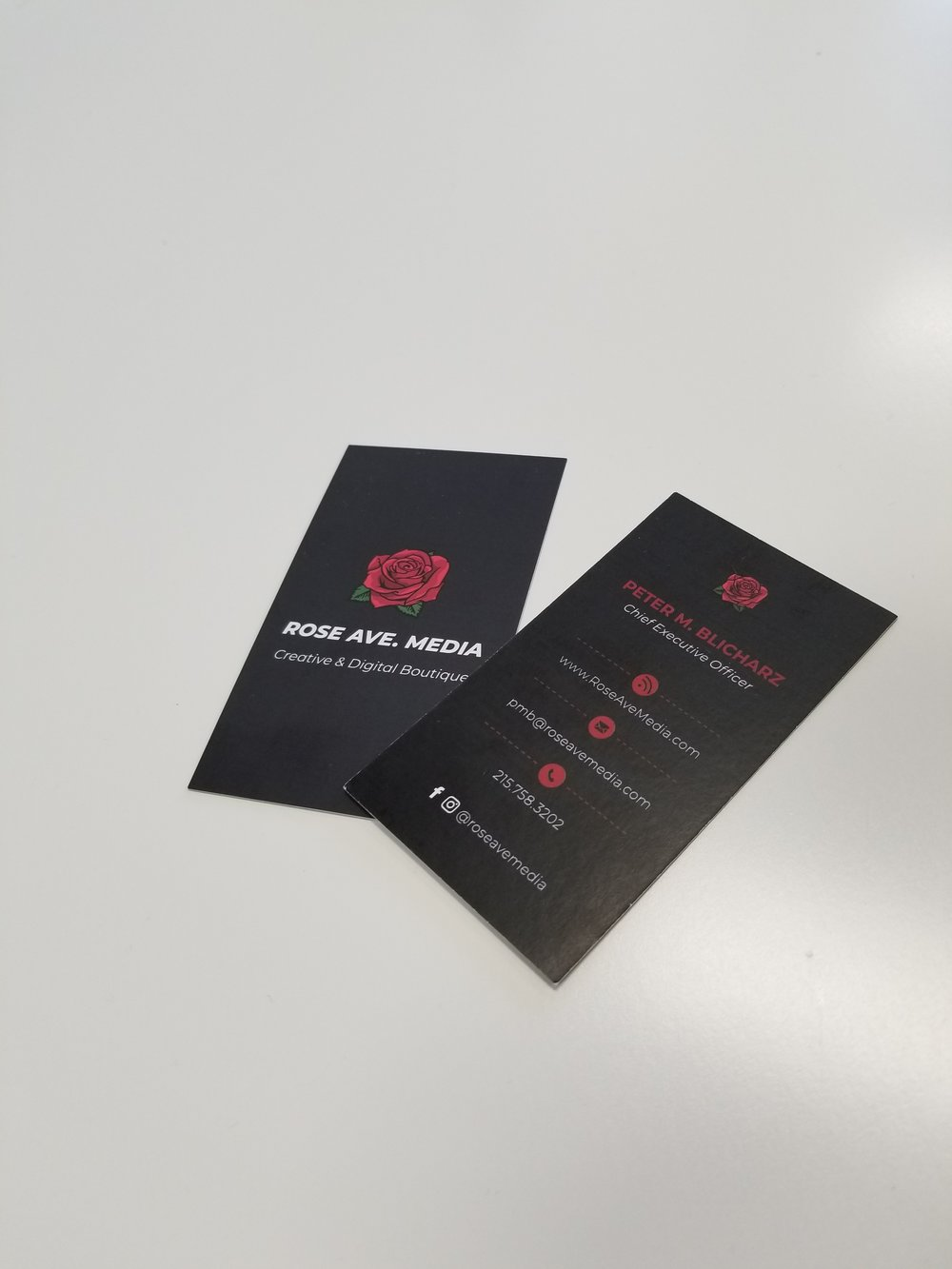 Business Cards - First impressions are everything! Don't get caught with a templated design card. Be unique with a custom high quality business card from TwoTwo Creative!Featured Client: Rose Ave Media