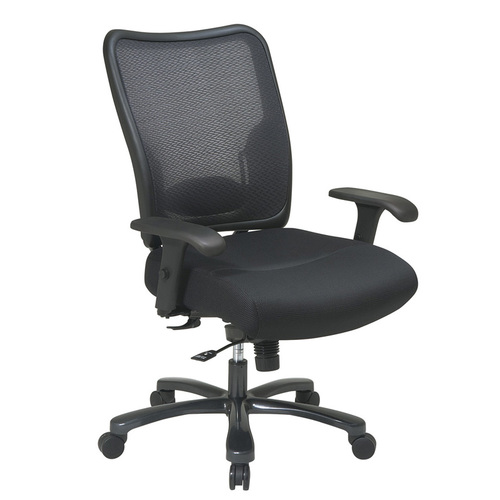Quick Overview   Space It- This Double AirGrid task chair is built to fit larger user and supports up to 400 lbs. This features strong support and a thick padded mesh seat. Custom fit arms are height and width adjustable.