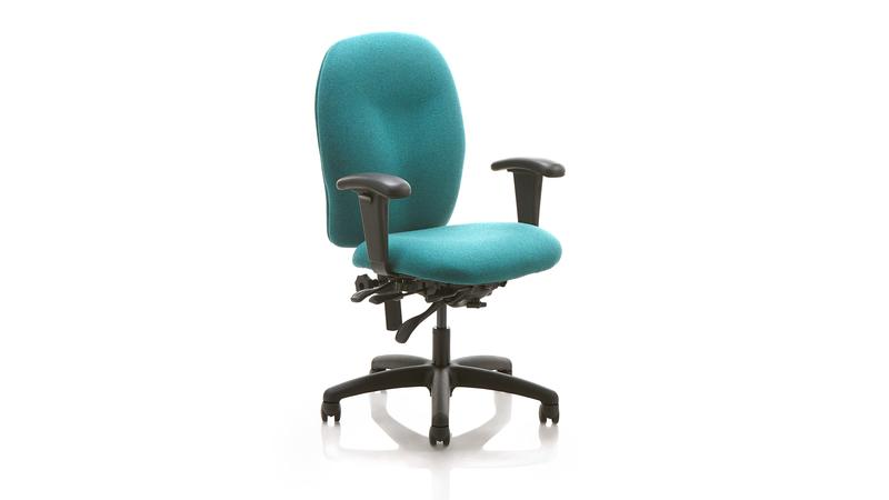 Quick Overview   A management chair with a modern look built for comfort and support. It has a completely upholstered medium backrest with easy height setting and viscoelastic foam seat for added comfort. The seat features a soft waterfall-style front. Available in fabric, vinyl or a combination of both, with or without armrests or headrest.