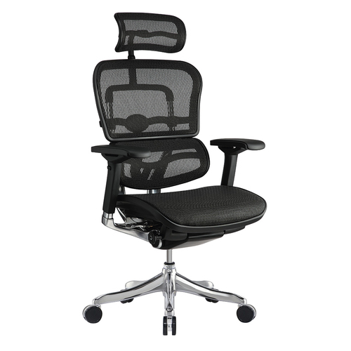 Quick Overview   Style, durability, and complete comfort.  All of our Ergo chairs were engineered with your total comfort in mind. Aesthetics, form and function are merged seamlessly in a single design, and allows the Ergo chairs to be minutely adjusted to achieve unrivaled ergonomic fine tuning. A synchro-tilt mechanism with infinite lock, sliding seat, pneumatic height adjustment, and headrest are options on all Ergo models.