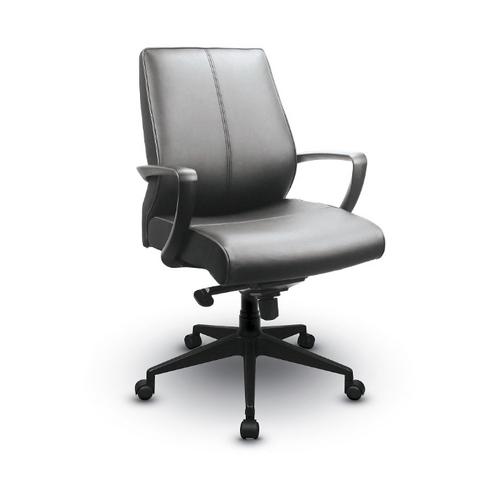 Overview   The TEMPUR material contours to the unique shape of your body, assuring you comfort and support throughout the day. It's a chair that works with you, instead of against you. A luxurious leather finish creates a contemporary, sleek look that dresses up any office or conference room.