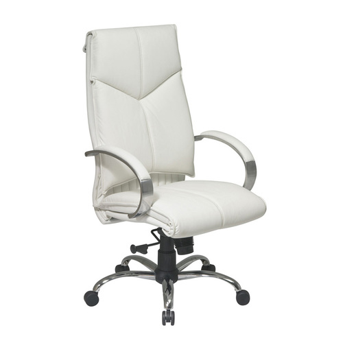 Quick Overview   Deluxe High-Back Executive Leather Chair with Chrome Finish Base is a comfy and stylish choice. Its thick padded seats and tilt tension leads to ultimate relaxation in the workplace.