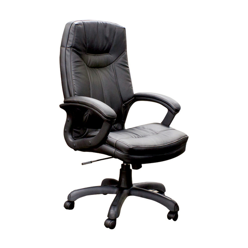 """Quick Overview   Manage It- The Executive High Back Faux Leather Chair features padded arms and 4-1/2"""" thick seat cushion for maximum comfort."""