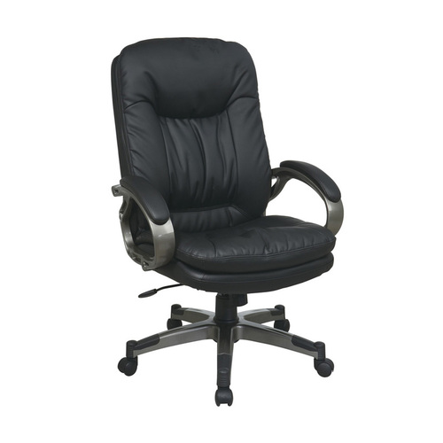 Quick Overview   Manage It- Executive Black Eco Leather Chair with Padded Arms and Titanium Coated Frame
