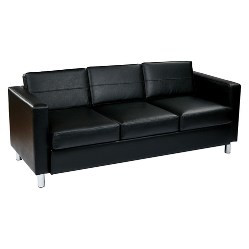 Quick Overview   Lounge It- This sofa features chrome legs, foam cushions, and a durable vinyl upholstery.