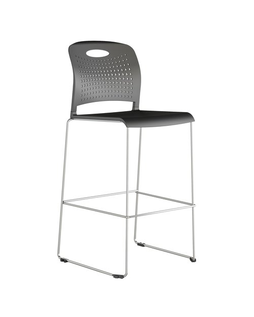 """Quick Overview   Triad is a lightweight high density stack chair that stacks up to 40 on a dolly. Triad offers an optional tablet arm and bookrack for three different configurations. Triad offers flexibility and ease of use in cafeteria, training spaces, classrooms, auditoriums or any area where extra seating is required. The Triad Stool, with a 30.5"""" seat height, is an addition to the already popular Triad high density stack chair series."""