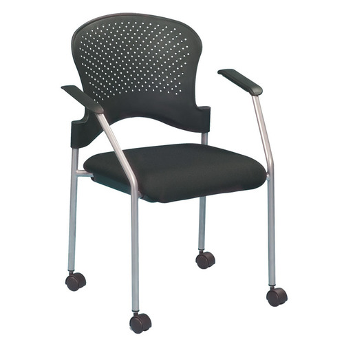 Quick Overview   This stacking chair comes with or without casters, has a contemporary design, features .75 inch steel tubing in a grey finish with black fabric seats and black nylon perforated curved back. These chairs will find themselves in many different applications from reception rooms to boardrooms.
