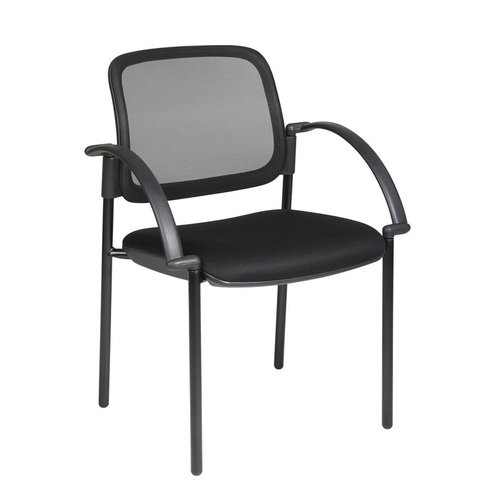 Quick Overview   Screen Back and Mesh Seat Visitors Chair with Arms. Thick Padded Mesh Seat. Screen Back. Nylon Arms with Black Metal Base.