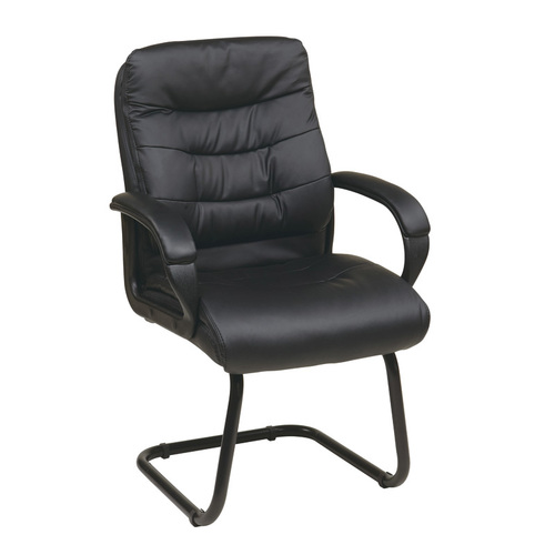 Quick Overview   The Faux Leather Sled Base Visitor's Chair features thick padded seat with built-in lumbar support.