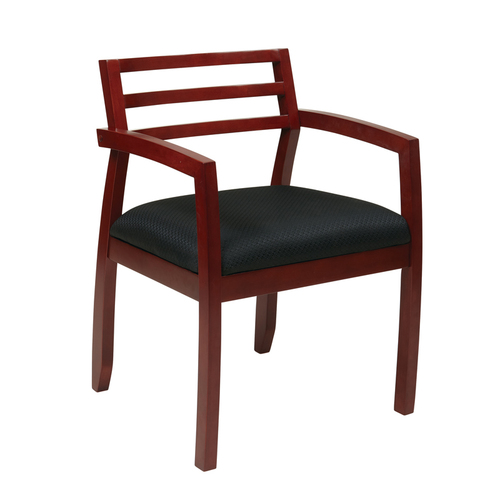 Quick Overview   Guest It- This wood veneer horizontal slat-back guest chair features black fabric seat in your choice of high gloss cherry, mahogany, or espresso finish.