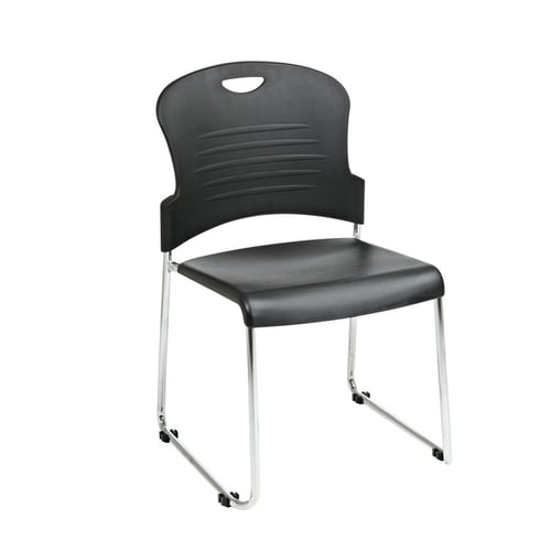 Quick Overview   Stack it- This stack chair features black plastic seat and back with a chrome sled base. Stacks up to 6 high and has built-in ganging. Must be ordered in multiples of 4