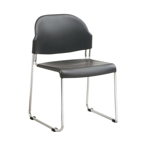 OFD Stack Chair with Black Plastic Back and Seat   $132