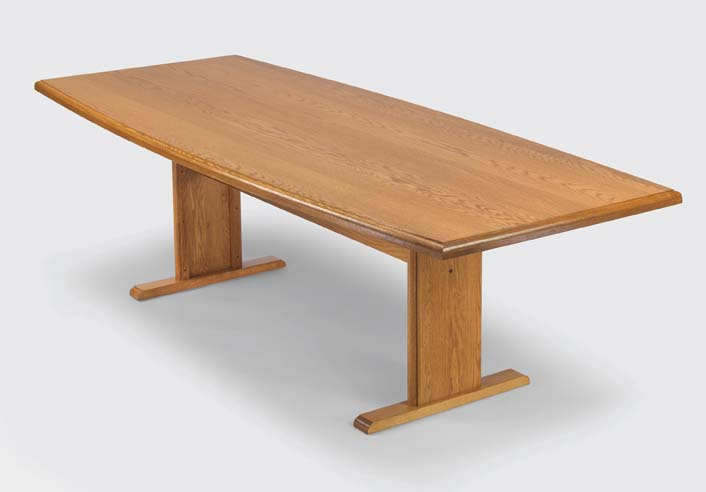 """Quick Overview   The Boat Conference offers handcrafted solid oak including solid oak table tops for structural integrity and enduring beauty. Conference table tops are one piece construction, including 96"""" and 120"""" tables with step hand rubbed finish. Matching solid oak chairs available with or without casters."""