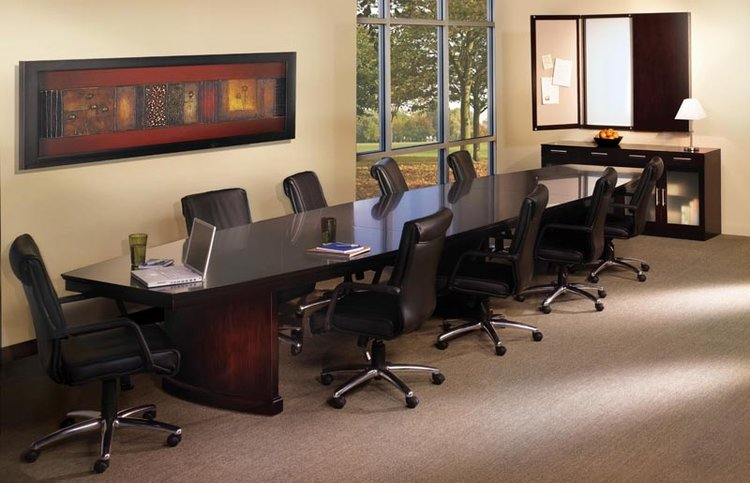 Quick Overview   Sorrento modular conference table bases route cords and conceal floor outlets, for a more impressive meet-and-greet. Rectangular conference tables only available in Bourbon Cherry.