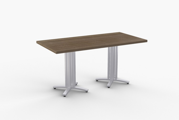 """Quick Overview   STRUCTURE-4X table features 14 gauge rectangular steel base in (3) heights: dining, bar andoccasional. SpecialT table tops are nominal 1-1/4"""" thick. Core is 1-1/8""""thick 45# M3 industrialstrength density particle board. The top surface is laminated with High Pressure Laminate (HPL) and thebottom is covered with a balance backer. Standard edge is 3mm PVC."""
