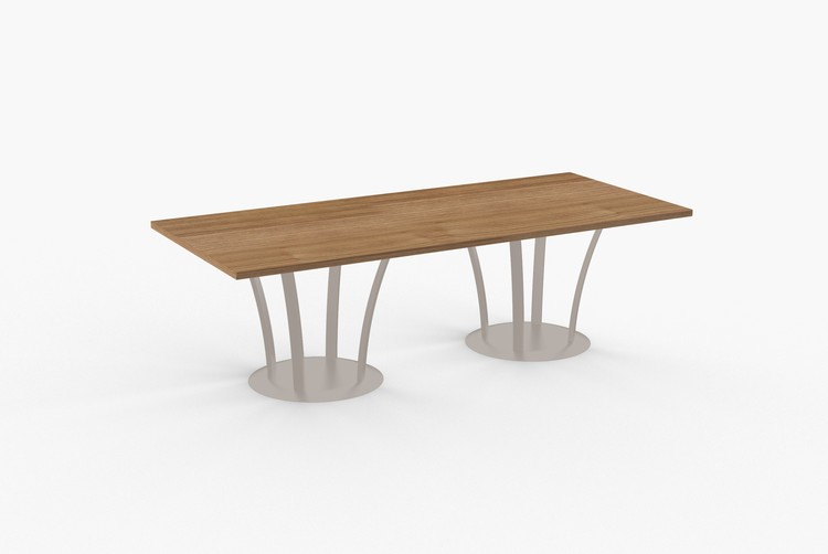"""Quick Overview   Either in a conference or break room application, Bedford is ideal when a 48"""" to 84"""" round or square table is needed. Quadruple column base comes in a variety of powder coat colors as well as polished chrome."""