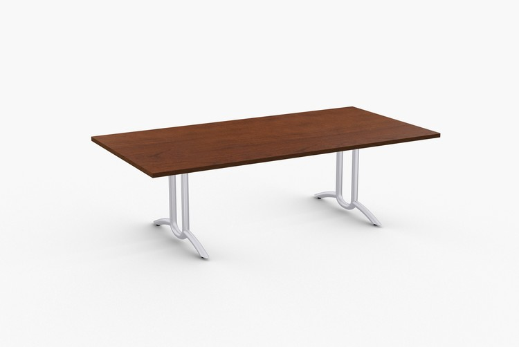 """Quick Overview   Connect features extended X-base for rectangular tables made with 14 gauge tubular steel. SpecialT table tops are nominal 1-1/4"""" thick. Core is 1-1/8"""" thick 45# M3 industrial strength density particle board. The top surface is laminated with High Pressure Laminate (HPL) and the bottom is covered with a balance backer. Standard edges are T-mold and 3mm PVC."""