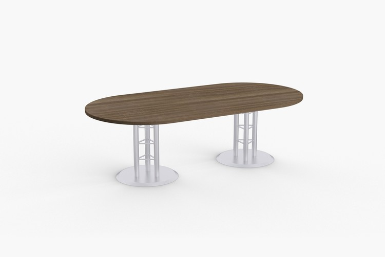 "Quick Overview   Atlantis features solid steel welded bases with contemporary design. Tables 60"" and longer include steel support to prevent sagging. Special•T table tops are nominal 1-1/4"" thick. Core is 1-1/8"" thick 45# M3 industrial strength density particle board. The top surface is laminated with High Pressure Laminate (HPL) and the bottom is covered with a balance backer. Standard edge is 3mm PVC."