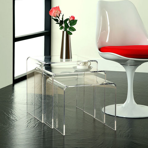 Quick Overview   The Casper nesting tables are made of rounded sheets of acrylic, giving a clean see-through look to the 3 piece set. Perfect for a small living room, this space saving design lets you entertain many and keep your space clear afterwards.
