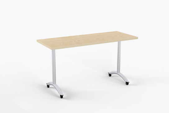 Quick Overview   SlimFlip is a flip top version of our most popular Kingston table. It features a simple to use one point release mechanism. Locking dual wheel casters are standard with T-Legs for easy mobility and nesting. Optional arched T-Legs are standard with skate casters. Heavy duty beam prevents top from sagging.