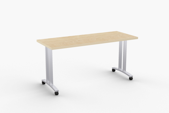 """Quick Overview   Structure FlipTop-T tables feature heavy duty rectangular steel mounting beam with a single point, fully enclosed, positive locking mechanism, optional built-in modesty panel and removable wire channel. Welded legs are 14 gauge rectangular steel. The columns are centered. Continuous beam prevents top from sagging. SpecialT table tops are nominal 1-1/4"""" thick. Core is 1-1/8"""" thick 45# M3 industrial strength density particle board. The top surface is laminated with High Pressure Laminate (HPL) and the bottom is covered with a balance backer. Standard edge is 3mm PVC."""