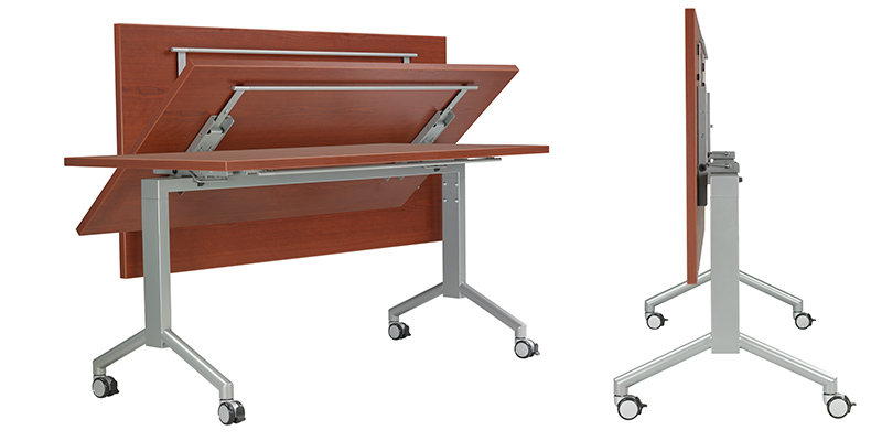 Quick Overview   RA FLIP tables are ideal for multi-use rooms that require a variety of furniture configurations. Nested tables require minimal storage footprint; casters provide easy mobility.