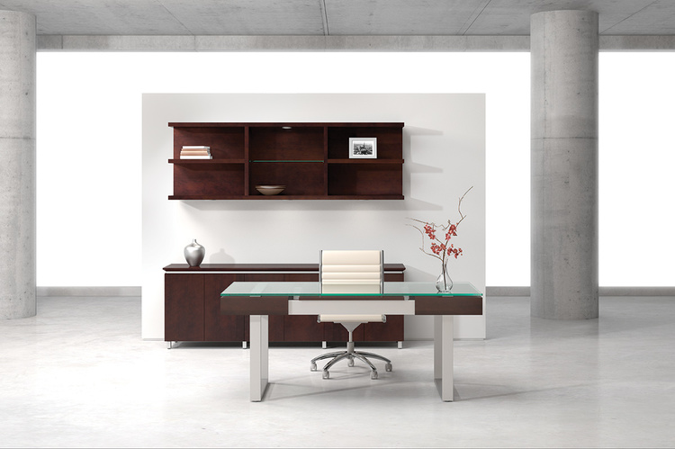 Darran Spaces Glass Top Sleigh Base Desk   6,294.00