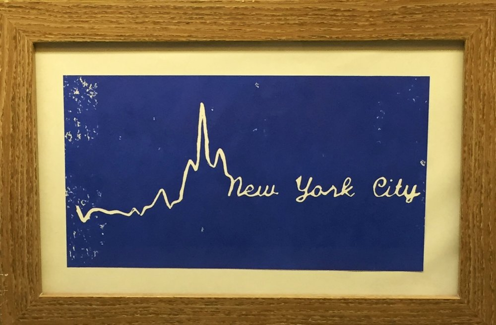 The Print - The curve of the pace data is transformed into a scripted 'New York City' on a solid color background