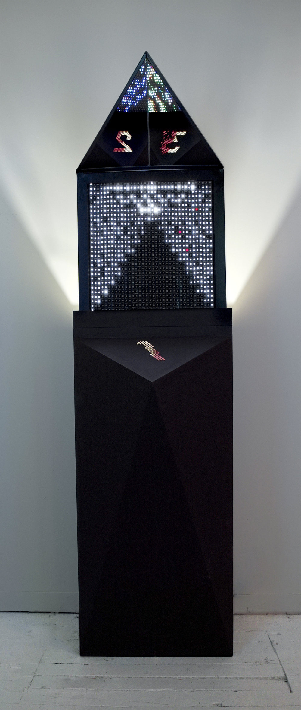 Pillar 01 stands at 6ft tall, while the LED panel is centred at 5.5ft to meet the average person's eye level.