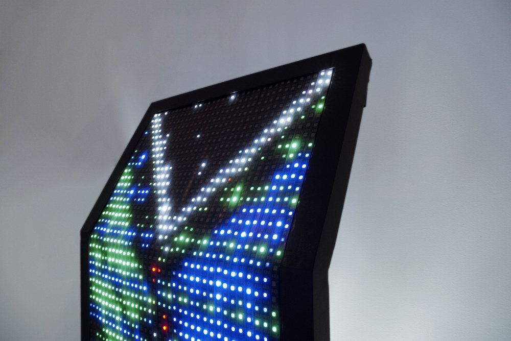 Close-up Pillar 02; the angled top accentuates the cascading effect created by the LED animation.