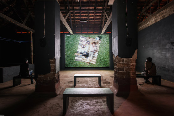 Image: Charles and Ray Eames, Powers of Ten at Aspinwall House, Fort Kochi. Film, colour, sound \ 9 min. Kochi Biennale Foundation