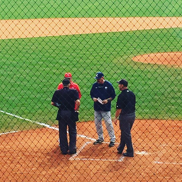 """The umps are here. Game starting momentarily. We're behind schedule, but remember """"There's no clock in baseball."""" Play⚾️"""