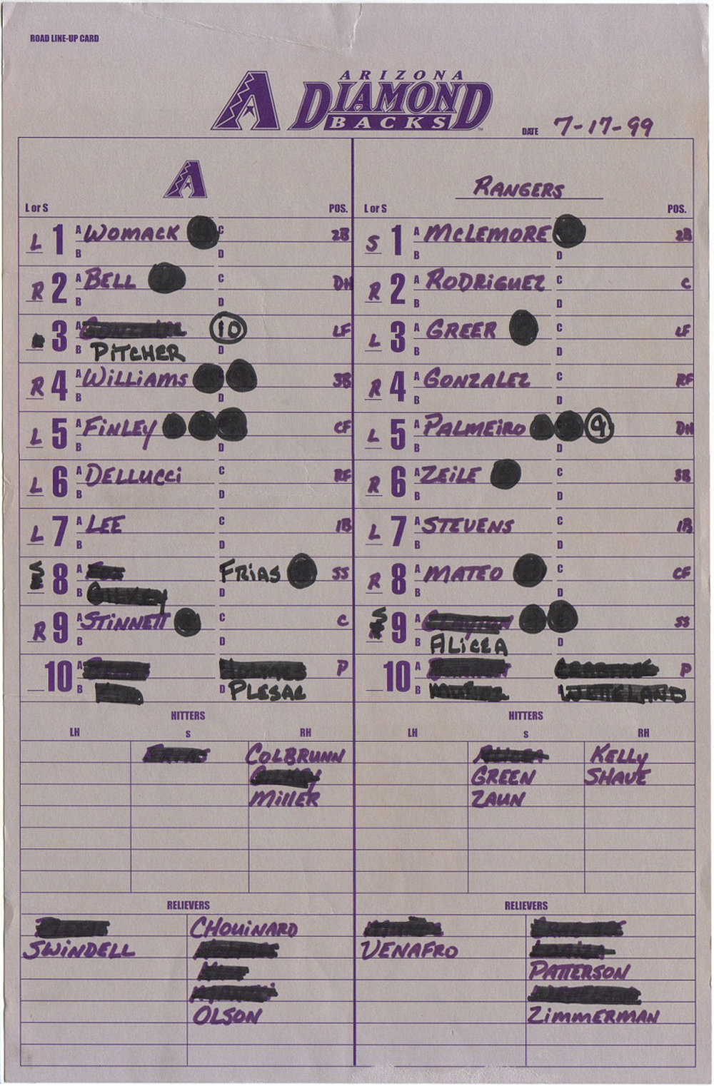 LINEUP CARDS -