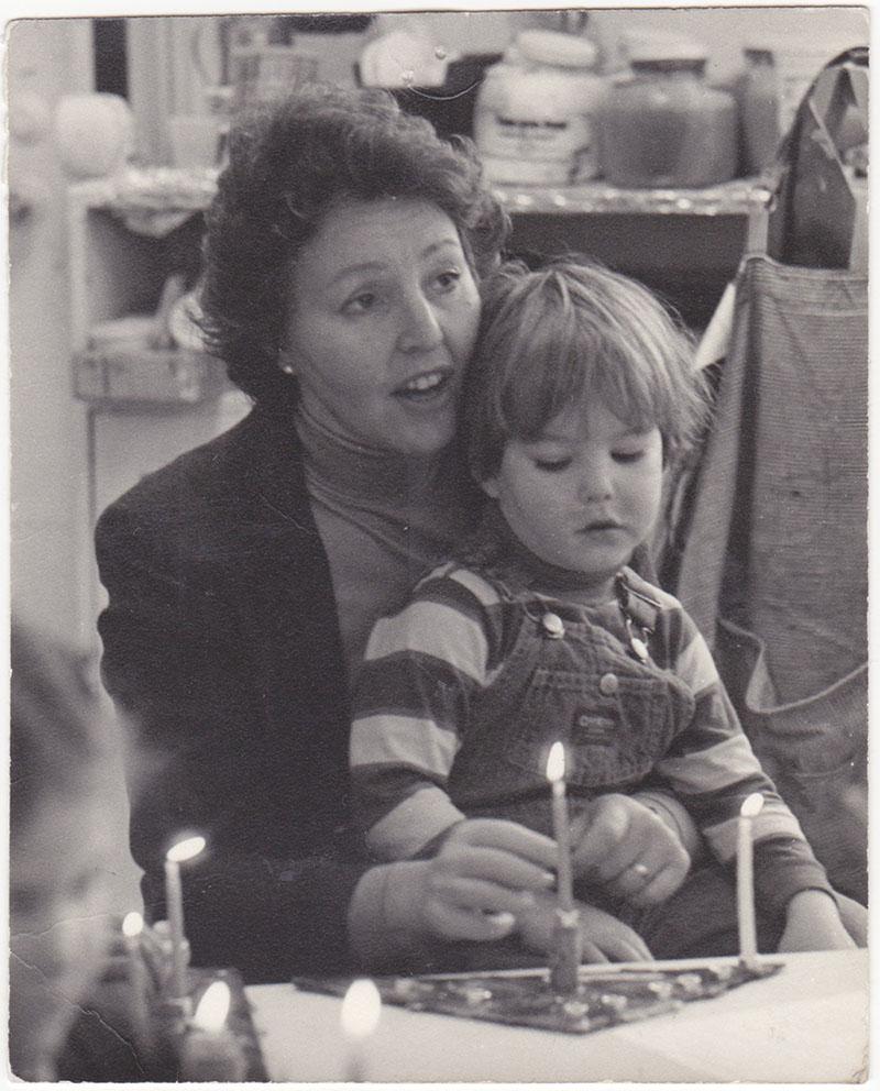 with my mom in nursery school