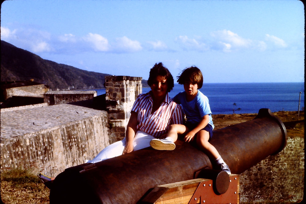 with my mom on a cannon