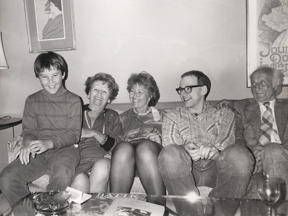 with Henry, my grandparents, and my mom