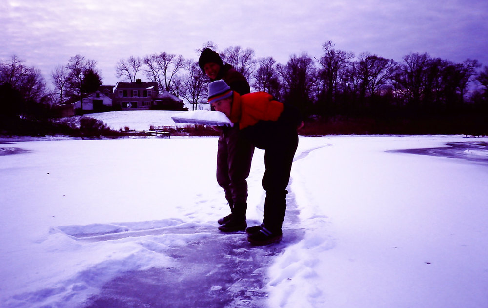 on a frozen lagoon with my mom