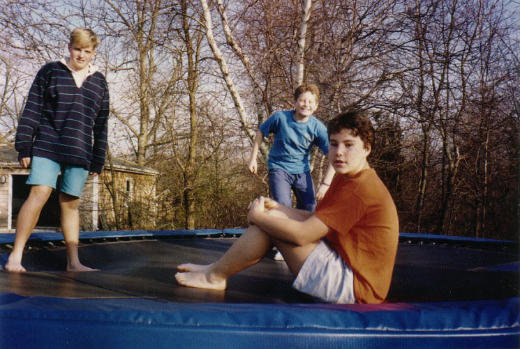 with friends on a 14-foot trampoline