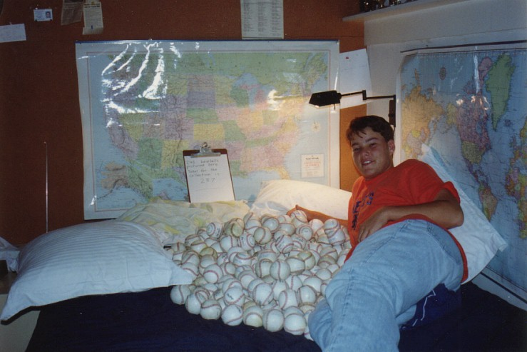 posing with nearly all 287 of my baseballs
