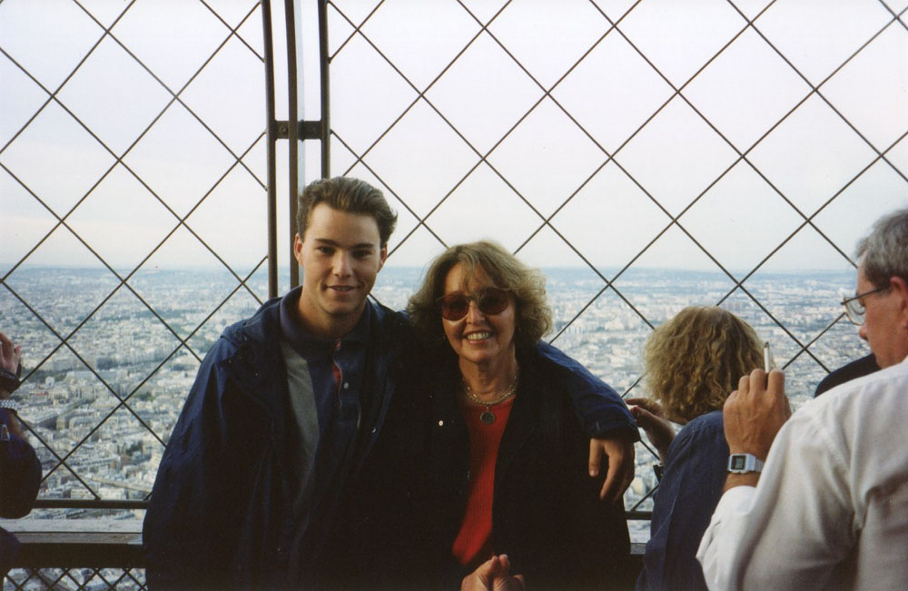 with my mom atop the Eiffel Tower