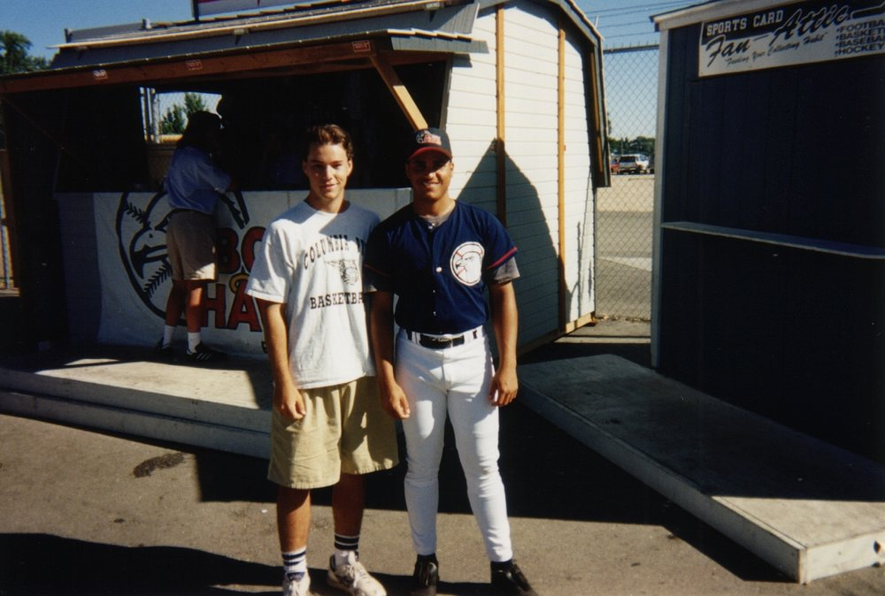 with Hawks pitcher Stevenson Agosto