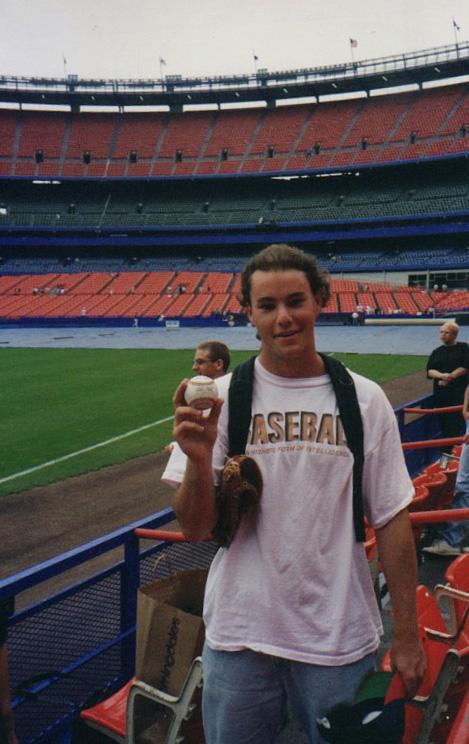 holding my 1,000th baseball