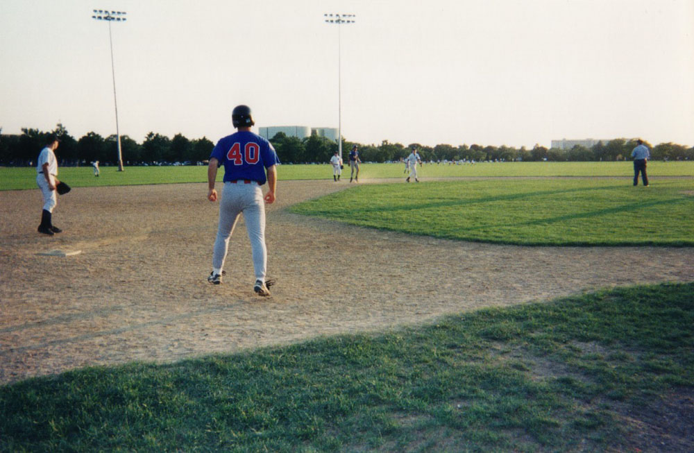 taking a lead off third base